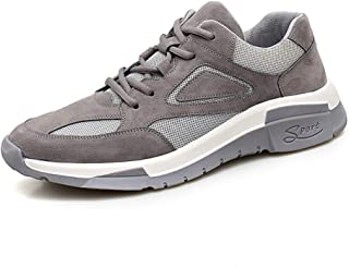 QINRUIKUANGSHAN Fashion Sneakers for Men Low Top Walking Sport Shoes Lace Up Casual Mesh Leather Upper Round Toe Anti-Slip Breathable Wear Resistant Simple and Practical Product