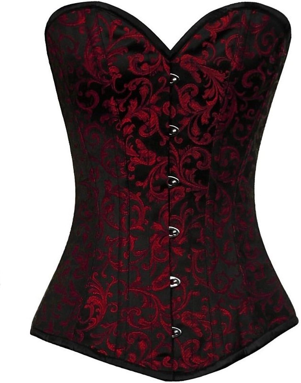 CorsetsNmore Red Black Brocade Waist Cincher Basque Gothic Burlesque Long Overbust Corset Top