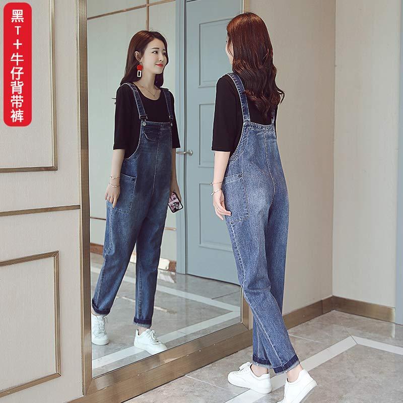 牛仔背带裤女2019秋装新款女装韩版秋季高腰宽松套装裤子两件套潮白T+背带裤 S
