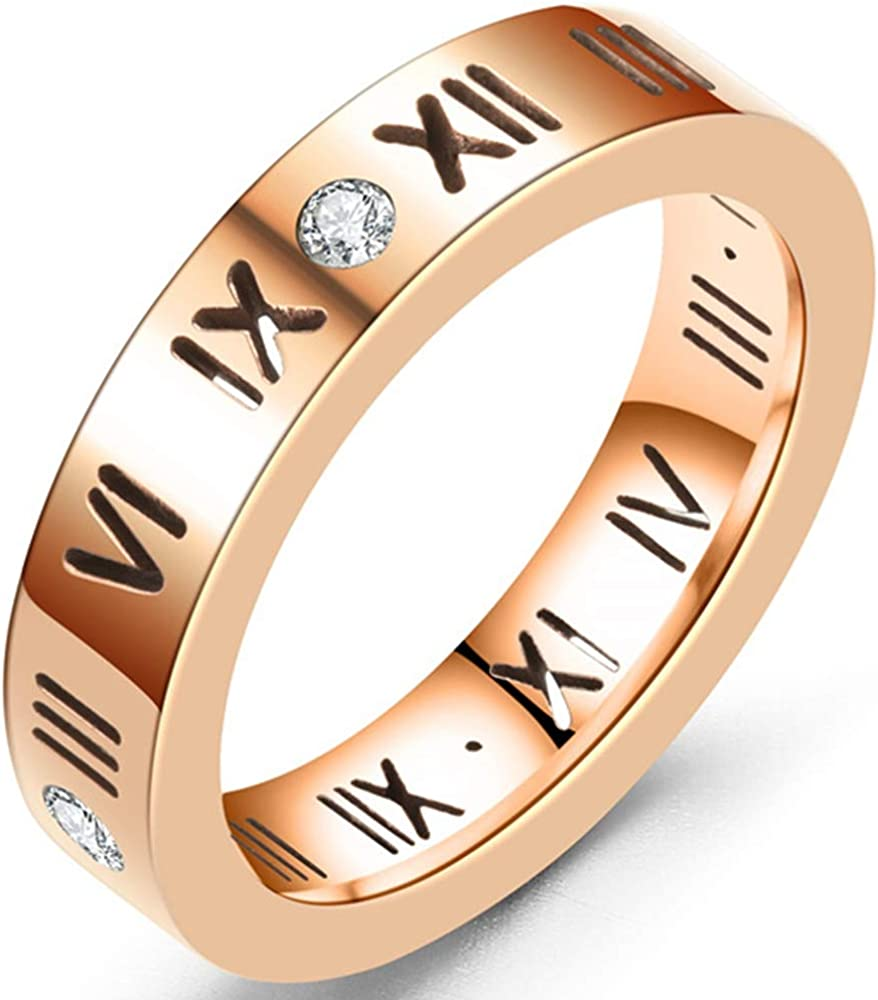 Jude Jewelers 4mm Stainless Steel Roman Numbers Classic Wedding Band Promise Ring
