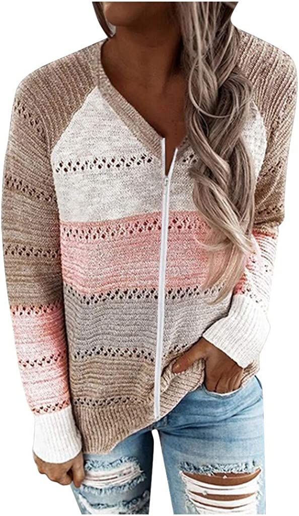 Sweaters for Women Plus Size,Wamajoly Winter Women's Long Sleeves Turtleneck Striped Print Loose Pullover Tops Knit Sweater