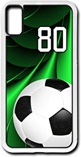 iPhone X Case Soccer Ball SC045Z Choice of Any Personalized Number Phone Case by TYD Designs in White Plastic with Team Player Jersey Number 80