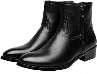 FUNPLUS Hommes Bottines en Cuir Britannique Bottes à glissière Chaussures Formelles Automne Hiver Cuir antidérapant Chauss...