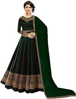 Fast Fashions Women's Faux Georgette Semi-stitched Anarkali Gown (Green_Free Size)