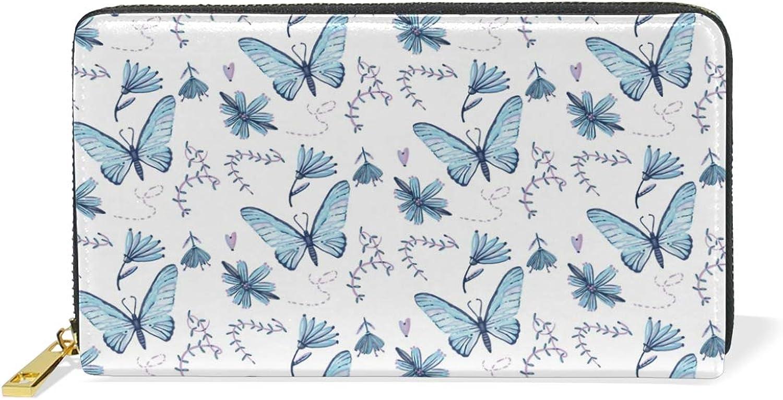 Women's Beautiful Butterfly Flower Heart Leather Wallet Cute Girl Zipper Clutch Purse