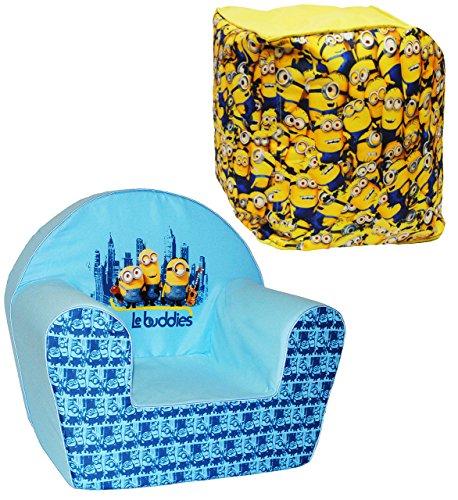 alles-meine.de GmbH 2 TLG. Set _ Kindersofa / Kindersessel & Sitzsack -  Minions - Ich einfach unverbesserlich  - kleines Sofa / Sitzkissen - Kissen - Kinderstuhl - für 1 bis 3..