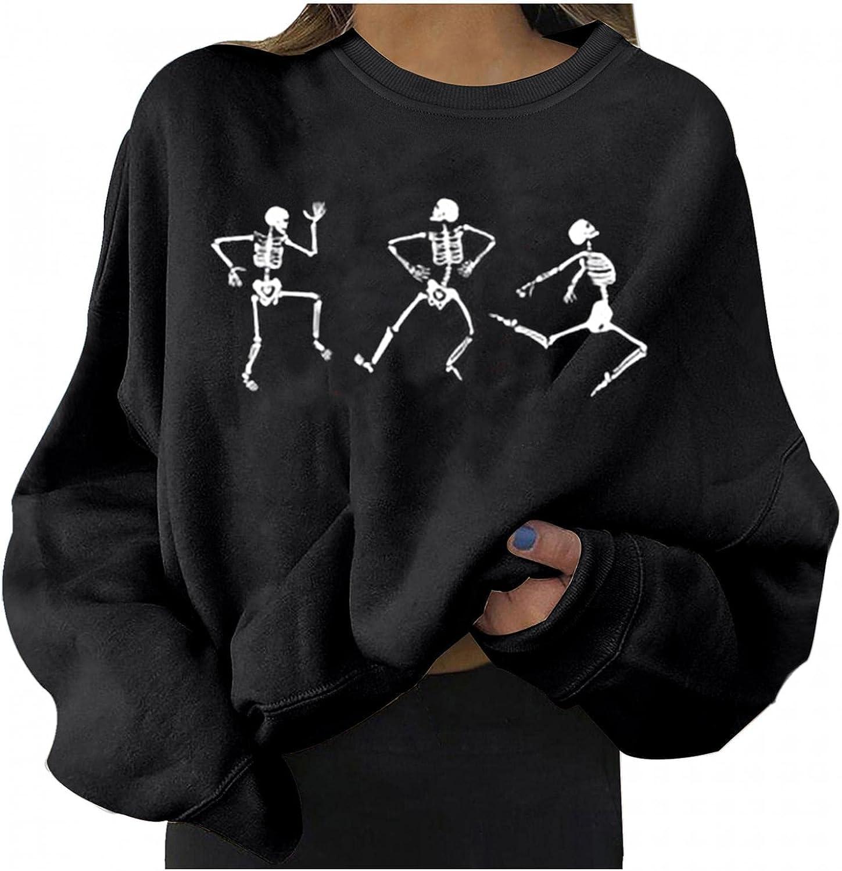 Halloween Graphic Sweatshirts for Women Skeleton Crewneck Loose Fit Casual Long Sleeve Cute Pumpkin Pullover Sweaters