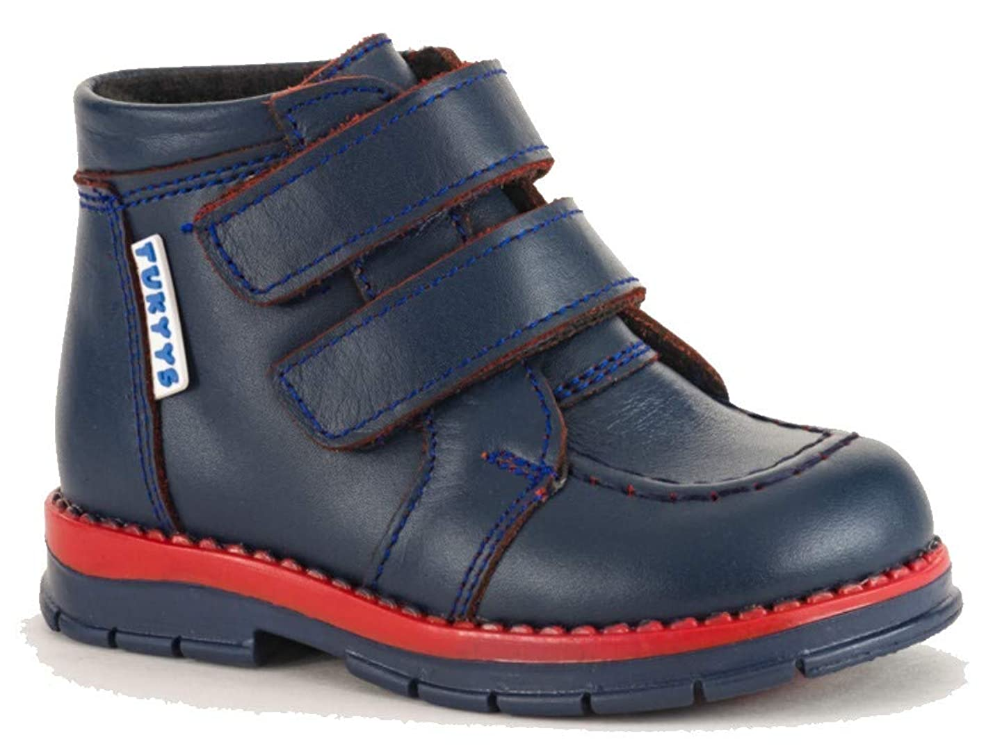 Tukyys Shoes for Boys/Girls Leather Waterproof Boots with Orthopedic Insole Wool Lining (Toddler) (Genuine Leather, US-6 EU-21) Dark Blue