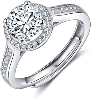 Gemszoo Moissanite Promise Rings for Women Round Brilliant Sterling Sliver Wedding Engagement Open Ring for Girlfriend Wif...