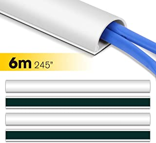 D Channel Cable Raceway, Stageek 245 inch On-Wall Cable Concealer Cord Cover Wire Hider, Self-Adhesive Cable Management Kit to Hide Wires,Cables, Cords for TVs and Computers - 16x15.4, White
