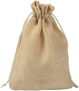 50 PCS Christmas Drawstring Gift Bags Burlap Pouch for Wedding Favor Party Candy, 13x18CM,Beige