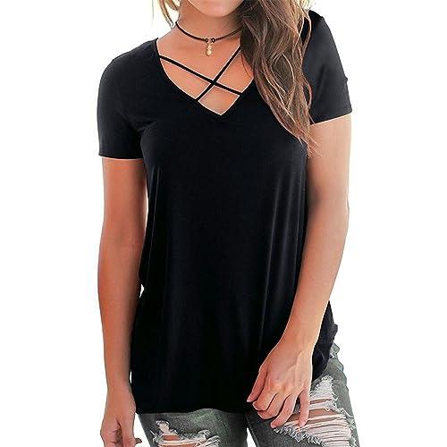 cba26e54181f02 Eanklosco Womens Summer Short Long Sleeve Cold Shoulder T Shirts Cut Out  Tops V Neck