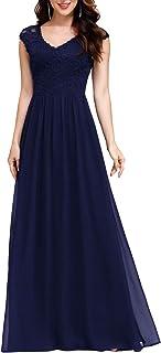 Ever-Pretty Women's V-Neck Floral Lace Chiffon Maxi Dress Long Bridesmaid Dress 0622