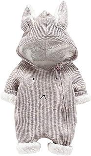 Tophappy Pagliaccetto Neonato Invernale 0-24 Mesi Bimba Fleece Pagliaccetti con Cappuccio e Pulsante in Cotton Manica Lunga Caldo Addensare Tutine Fumetto Body Outfits per Ragazza Inverno Autunno