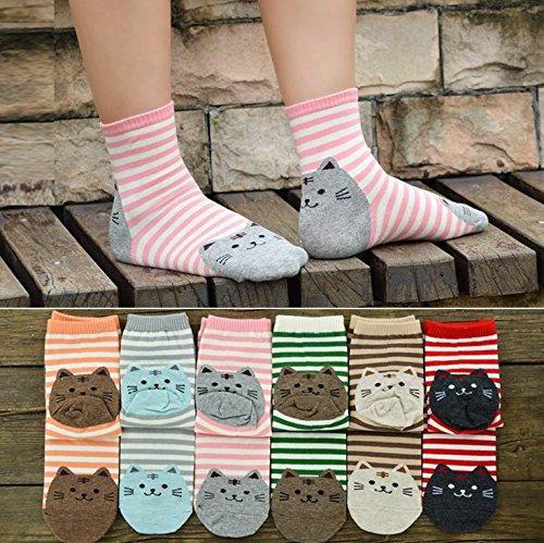Veewon Frauen Socken Baumwolle Damen Winter Warme Socken Lustige Nette Katze Muster, 4 Paar Pack - zufällige Farbe