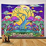 Uokiuki Trippy Mushroom Tapestry, Psychedelic Hippipe Colorful Mushroom Art Fantasy Plant Magical Forest Wall Tapestry, Tapestry Wall Hanging Blanket Home for Bedroom Living Room Dorm, 60X40IN