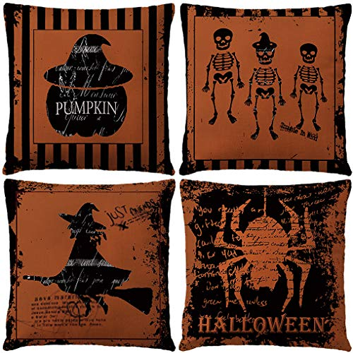 Set Of 4 Vintage Halloween Pillow Covers Happy Halloween Spider With Pumpkin/Human Skeleton Cushion Cover Cotton Linen Home Decorations Little Witch Element Pillowcases 18x18 Inches(Spider Halloween)