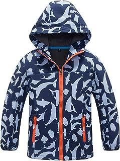 CORORO Boys Rain Jacket, Waterproof Softshell Jacket Kids Raincoat Hooded Windbreaker Zip Jacket