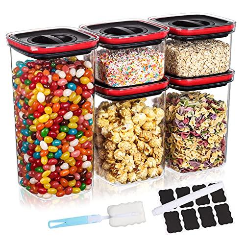 Aitsite 5er Vorratsdosen Set, Aufbewahrungsbox Küche Luftdicht Behälter mit Deckel BPA frei Kunststoff Vorratsbehälter zur Aufbewahrung Küche von Mehl, Zucker, Cornflakes usw