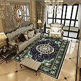 qijidzswyxgs lfombra Estilo Oriental Alfombra Estampado Floral Azul Verde Adecuado para salón baño sofá Silla cojín 120x160CM