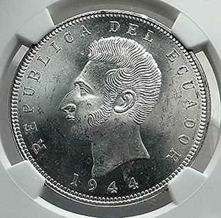 1944 MX 1944 ECUADOR Hero Antonio Jose de Sucre AR Coin M coin MS 65 NGC