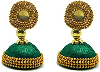 Ethnic Designer Wear Golden Silk Thread Jhumki in Peacock Green
