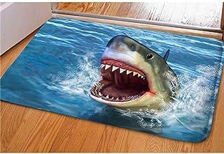 Dellukee Indoor Outdoor Doormats Cute Shark Printed Non Slip Durable Washable Funny Home Decorative Door Mats Bath Rugs fo...