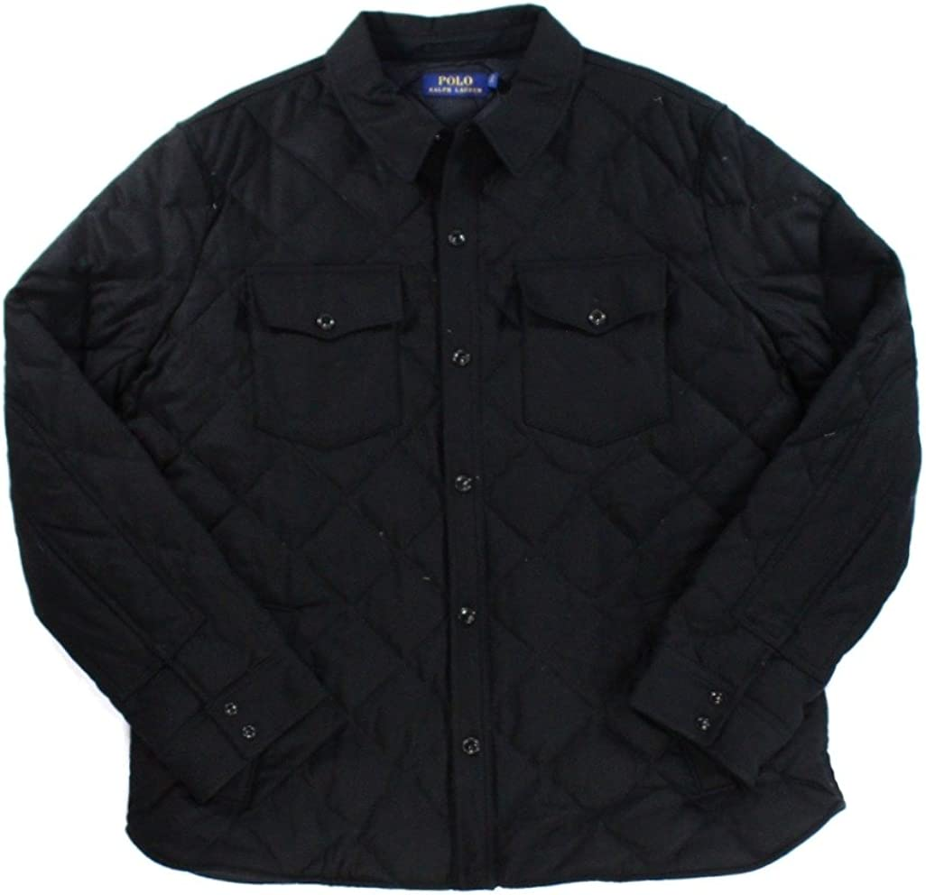 Ralph Lauren Polo Mens Full Button Quilted Wool Jacket Black