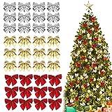 GIRAFEDA36 Pcs Lazos Para Arbol de Navidad 5,5 x 5cm Moños Rojos Navideños Lazos Dorados para Arbol de Navidad Decoración para Árbol de Navidad Guirnaldas Navideñas Regalos (Rojo Dorado Plata)