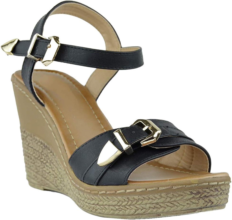 KSC Womens Platform Sandals Front Buckle Accent High Wedge shoes Black SZ 9