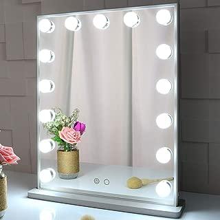 Meetop ハリウッドミラー 化粧鏡 ledライト15個付 2色ライトモード 台座付き 卓上/壁掛け両用 女優ミラー ドレッサー適用(シルバー)