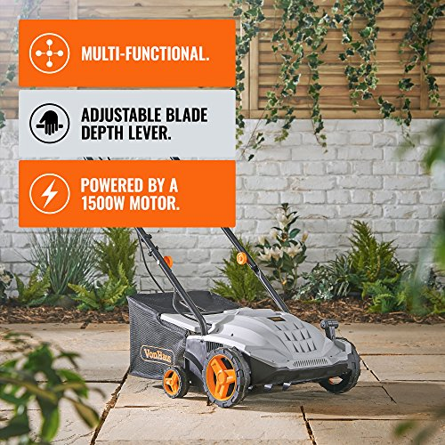 VonHaus 2 in 1 Lawn Scarifier u2013 1500W Electric Garden Lawn Rake with 4 Working Depths & 10m Power Cable Mowers & Outdoor Power Tools Garden & Outdoors