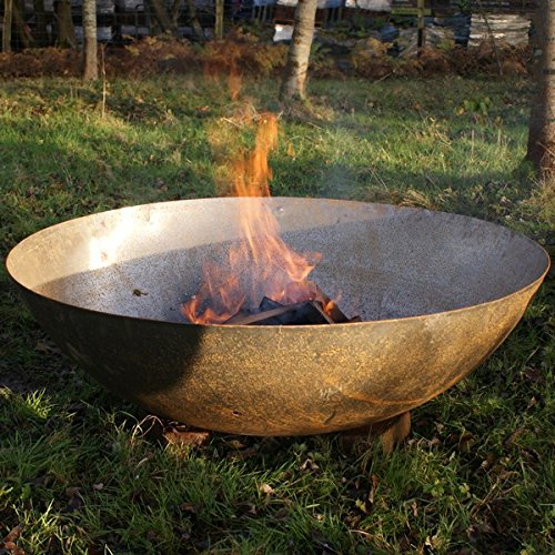 Round Wood 60cm Mild Steel Fire Pit - Bowl Rust Finish Garden Feature Bonfire Outdoors Heater