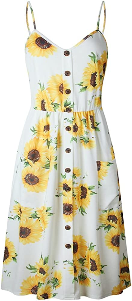 OCHENTA Women's Floral Topics on TV Spaghetti Strap Surprise price w Button Midi Dress Front