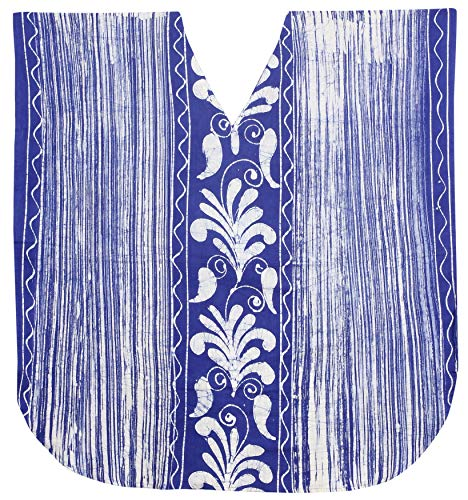 LA LEELA Strandkleid Damen Strandkleider Damen Sommer Bikini Badeanzug Cover Up Strandponcho Beachtime Strandkleid Damen Strandurlaub Blau_L208 DE Größe: 42 (L) - 50 (3XL)