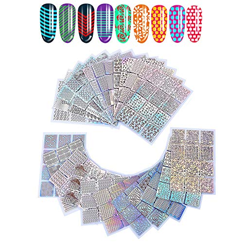 Ebanku 288 stuks Nail Vinyls Stencils Stickers Set, 24 vellen 96 verschillende ontwerpen Adhesive Nail Art Decal Stickers Stencils