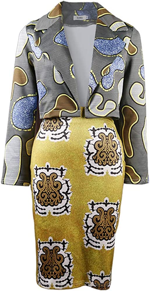 nuoshang Women's 2 Pieces Set African Printed Short Blazer and Pencil Skirts Work Office Suits