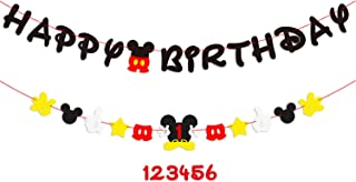 PANTIDE Mickey Mouse Birthday Party Supplies︱Mickey Mouse Birthday Banner Garland︱Baby Shower Decorations 1st Birthday Decorations︱Mickey Mouse Party Favors︱Club House Inspiration for Kids Age 1-6