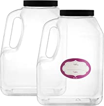 2 Pack - Clear Square Plastic Empty Storage Containers - Jars w/Plastic Airtight Lids - Empty Jugs with Handles - Wide Mou...