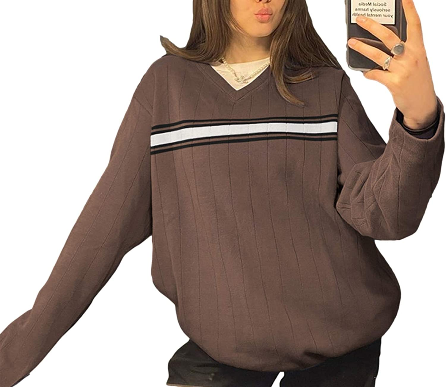 BZB Striped V Neck Oversized Sweater for Women Casual Loose Y2K Knitted Preppy Style Vintage E Girl Pullover Sweater Tops