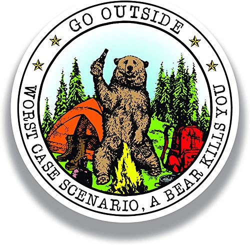 Pqzqmq Go Outside Worst Case Scenario A Bear Kills You Vinyl Decal Sticker - Car Truck Van SUV...