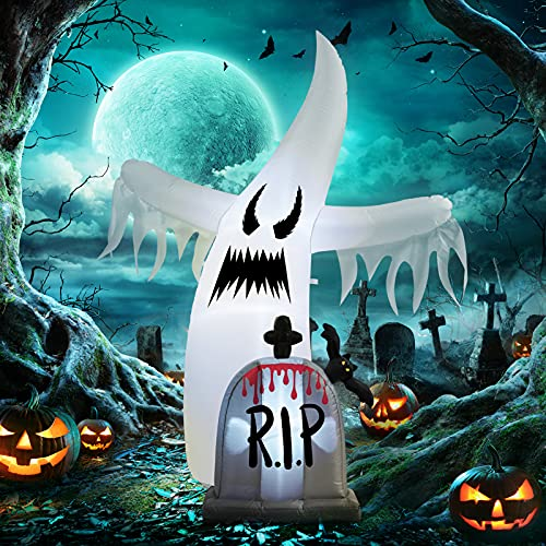 WBHome 6 Ft Halloween Inflatable White Ghost with Tombstone, Halloween Blow Up Yard Decoration with LED Light for Lawn…