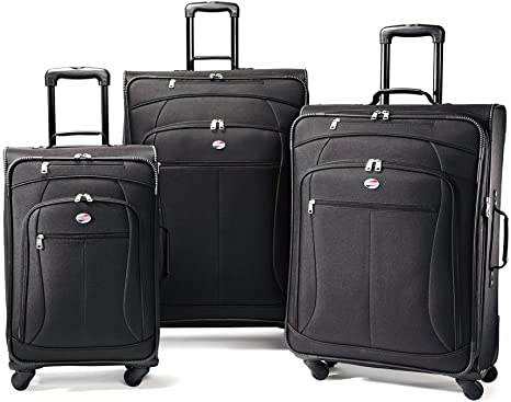 American Tourister At Pop 3 Piece Softside Spinner Wheel Luggage Set Black 21 25 29 Luggage Sets Amazon Com