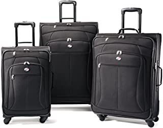American Tourister AT Pop 3-Piece Softside Spinner Wheel Luggage Set, Black, (21/25/29)