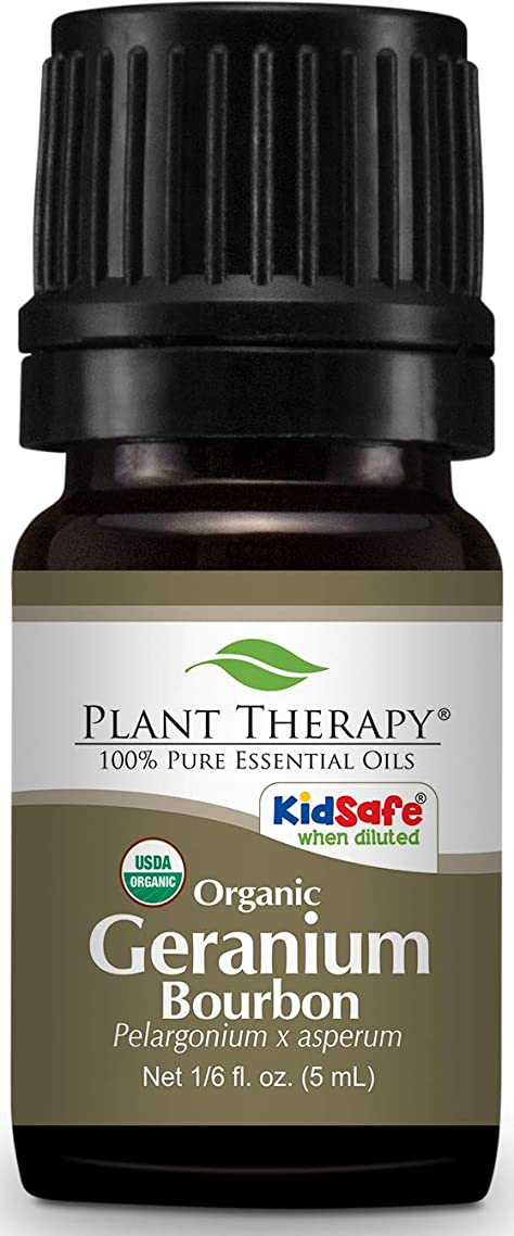 Plant Therapy Geranium Bourbon Organic Essential Oil 5 mL (1/6 oz) 100% Pure, Undiluted, Therapeutic Grade