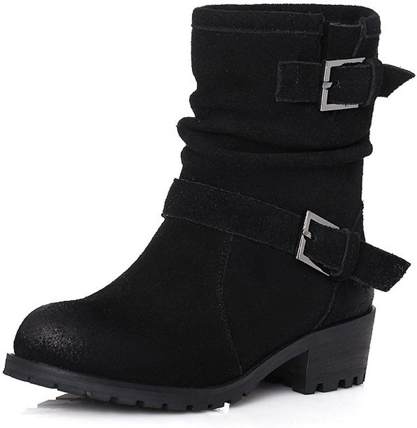 AmoonyFashion Women's Round-Toe Closed-Toe Kitten-Heels Boots with Ruched and Platform