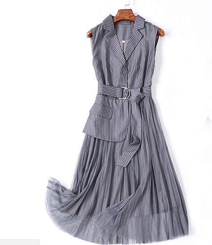 TempéraHommest d'été Les Les dames Costume Veste Maille Couture Robe Jupe Robe sans Manches Pettijupe gris Code XL