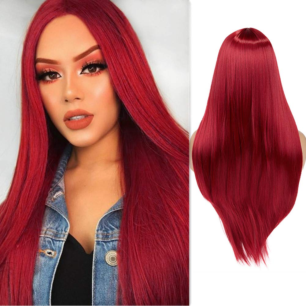 WIGER Red Wig Industry No. 1 Long Straight Hair Heat R Middle Part Wigs Direct store Natural