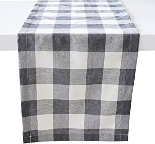 ARKSU Christmas Table Runner Plaid Polyester-Cotton Blend for Dinner Table Indoor or Outdoor Parties Home Decor, Grey,12