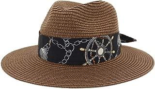 HaiNing Zheng Women Men Summer Straw Wide Brim Beach Panama Sun Fedora Hat Hollow Out Mesh Snake